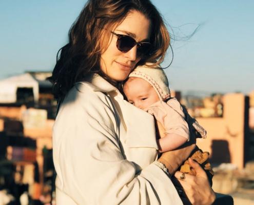 Sofia Sanchez de Betak with her infant daughter